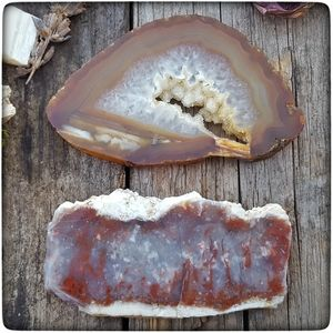 Two natural Agate crystal gemstone slices